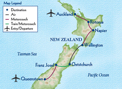 Travel Map New Zealand.New Zealand Adventure Odysseys Unlimited The Small Group