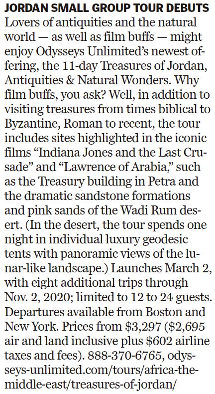 this is a photo of a boston globe article about our jordan tour